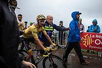 Yellow Jersey Julian Alaphilippe (FRA/Deceuninck Quick Step) after finishing on top of the Foix Prat d'Albis. <br /> <br /> Stage 15: Limoux to Foix Prat d'Albis (185km)<br /> 106th Tour de France 2019 (2.UWT)<br /> <br /> ©kramon