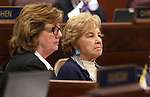 Nevada Assemblywoman Marilyn Dondero Loop, D-Las Vegas, and her mother listen on the Assembly floor at the Legislative Building in Carson City, Nev., on Monday, April 15, 2013. .Photo by Cathleen Allison