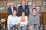 Jo Noonan, Monex, pictured as she presented prizes from the Killarney Athletic Golf Classic, in Scotts Bar, Killarney on Saturday night to Paul O'Neill and Shay Nolan. Also pictured are Don O'Donoghue, Tom Tobin and Shane Kelly. ......................................Christy O'Mahony, captain Beaufort Golf club and Irene McCarthy, Lady Captain Beaufort Golf Club pictured with James Lucey and Sheila McCarthy, who were the winners in their Captain Prize Competition at the course on Sunday. Also pictured are Frank Coffey, President, Sean Coffey, vice captain, Teresa Clifford, Margaret Guerin, Josephine O'Shea, Gretta Hurley, Renee Clifford, Peggy O'Riordan, Maureen Rooney, Mary Barrett, Robin Suter, Gearoid Keating, Jim Hurley, Gabhan O'Loughlin, Rory Browne, Mike Quirke, Matt Templeman and Simon Rainsford...Picture: Ger Cronin LMPA (087) 0522010....PR SHOT..NO REPRODUCTION FEE.............................................................................................................................................................................................................................................