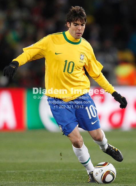 JOHANNESBURG - JUNE 15:  Kaka of Brazil in action against North Korea during a 2010 FIFA World Cup soccer match June 15, 2010 in Johannesburg, South Africa.  NO mobile use.  Editorial ONLY.  (Photograph by Jonathan P. Larsen)