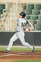 Drew Dosch (10) of the Delmarva Shorebirds follows through on his swing against the Kannapolis Intimidators at CMC-NorthEast Stadium on July 2, 2014 in Kannapolis, North Carolina.  The Intimidators defeated the Shorebirds 6-4. (Brian Westerholt/Four Seam Images)