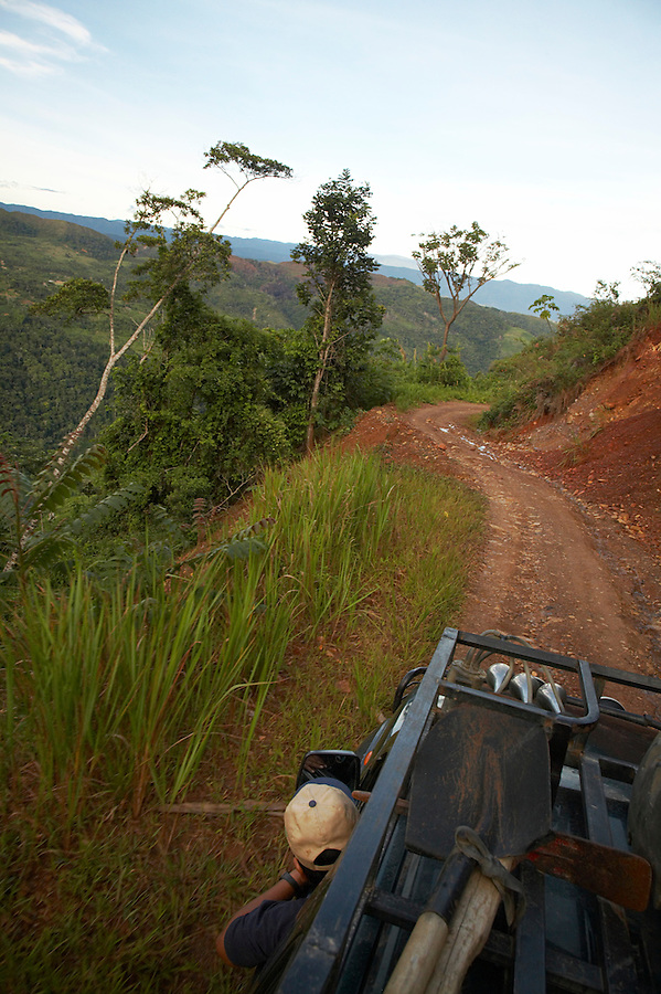 View from a four wheel-drive vehicle traveling in the Yungas region of Bolivia.