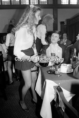 School Dinners, lunch time private members club in the City of London. Members got fed typical public, ie private school dinners by scantily clad St Trinian's, style waitresses.