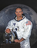 """Houston, TX - File photo -- Portrait of Michael Collins, Command Module (CM) Pilot of Apollo 11 Lunar Landing Mission taken on May 1, 1969.  Apollo 11 was Collins' second and final trip to space.  He previously piloted the Gemini 10 mission on July 18, 1966.  On that mission Collins completed two periods of extravehicular activity (EVA).  Apollo 11 launched on July 16, 1969.  Collins remained in Lunar orbit aboard the CM """"Columbia"""", while his crew mates Neil Armstrong and Buzz Aldrin landed on the Moon..Credit: NASA via CNP"""