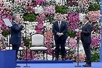 BOGOTÁ - COLOMBIA, 07-08-2018: Ivan Duque, presidente electo de Colombia, hace el juramento para tomar posesión como presidente para el período constitucional 2018 - 22 durante ceremonia en la Plaza Bolívar el 7 de agosto de 2018 en Bogotá, Colombia. / Ivan Duque, elected president of Colombia, makes swearing to takes office to constitutional term as president 2018 - 22 at Plaza Bolivar on August 7, 2018 in Bogota, Colombia. Photo: VizzorImage/ Gabriel Aponte / Staff