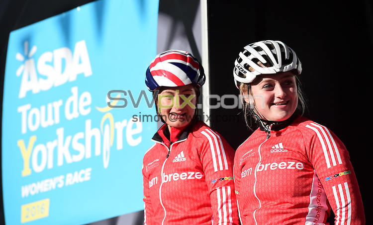 Picture by Alex Broadway/SWpix.com - 30/04/2016 - Cycling - 2016 Asda Women's Tour de Yorkshire: Otley to Doncaster - Yorkshire, England - Hayley Jones and Emily Kay of Team Breeze.