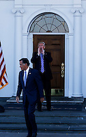 Mitt Romney (L) leaves after meeting with United States President-elect Donald Trump (R) and Vice President-elect Mike Pence (unseen) at the clubhouse at Trump International Golf Club, November 19, 2016 in Bedminster Township, New Jersey. Donald Trump is yelling to the press that the meeting went great. <br /> Credit: Aude Guerrucci / Pool via CNP /MediaPunch