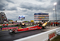 Sep 1, 2017; Clermont, IN, USA; NHRA top fuel driver Kyle Wurtzel (near) alongside Ike Maier during qualifying for the US Nationals at Lucas Oil Raceway. Mandatory Credit: Mark J. Rebilas-USA TODAY Sports