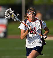 Anne Thomas (21) of Virginia sprints upfield during the first round of the ACC Women's Lacrosse Championship in College Park, MD.  Virginia defeated Virginia Tech, 18-6.