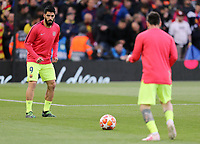 Barcelona's Luis Suarez (left) and Lionel Messi during the pre-match warm-up <br /> <br /> Photographer Rich Linley/CameraSport<br /> <br /> UEFA Champions League Semi-Final 2nd Leg - Liverpool v Barcelona - Tuesday May 7th 2019 - Anfield - Liverpool<br />  <br /> World Copyright &copy; 2018 CameraSport. All rights reserved. 43 Linden Ave. Countesthorpe. Leicester. England. LE8 5PG - Tel: +44 (0) 116 277 4147 - admin@camerasport.com - www.camerasport.com