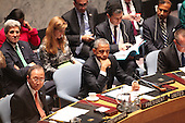 United States President Barack Obama and United Nations Secretary-General Ban Ki-moon listen to remarks from other international leaders as the President chairs the U.N. Security Council summit cracking down on foreign terrorist fighters at the U.N. 69th General Assembly in New York, New York on Wednesday, September 24, 2014.  Visible in the photo are also U.S. Secretary of State John F. Kerry and U.S. Ambassador to the U.N. Samantha Power.<br /> Credit: Allan Tannenbaum / Pool via CNP