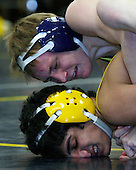Nose dive: Hartland's Ross Kantola has Rochester Adams' Jack Addy in his grip during Wednesday's regional semifinal at Hartland. Kantola won his match to help the Eagles defeat the Highlanders 45-20.
