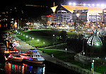 November 21, 2015 1 a.m. Light Up Night in Pittsburgh, PA at Allegheny River front around Point State Park and the North Shore.