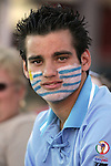 11 July 2007: Unidentified fan with his face painted with the colors of the flag of Uruguay. The Under-20 Men's National Team of the United States defeated Uruguay's Under-20 Men's National Team 2-1 after extra time in a  round of 16 match at the National Soccer Stadium (also known as BMO Field) in Toronto, Ontario, Canada during the FIFA U-20 World Cup Canada 2007 tournament.
