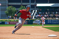 Columbus Clippers third baseman Zach Walters (27) running the bases during a game against the Buffalo Bisons on July 19, 2015 at Coca-Cola Field in Buffalo, New York.  Buffalo defeated Columbus 4-3 in twelve innings.  (Mike Janes/Four Seam Images)