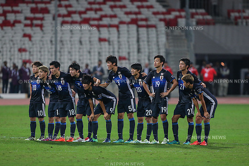 Japan team group (JPN), OCTOBER 30, 2016 - Football / Soccer : Japan players react in the penalty shoot-out during the AFC U-19 Championship Bahrain 2016 Final match between Japan 0(5-3)0 Saudi Arabia at Bahrain National Stadium in Riffa, Bahrain. (Photo by AFLO)