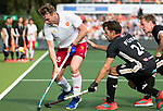 AMSTELVEEN - Chris Griffiths (Eng) with Benedikt Furk (Ger)   during the poulematch England v Germany (men) 3-4,Rabo Eurohockey Championships 2017.  WSP COPYRIGHT KOEN SUYK