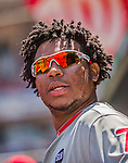 24 May 2015: Philadelphia Phillies infielder Maikel Franco stands in the dugout prior to a game against the Washington Nationals at Nationals Park in Washington, DC. The Nationals defeated the Phillies 4-1 to take the rubber game of their 3-game weekend series. Mandatory Credit: Ed Wolfstein Photo *** RAW (NEF) Image File Available ***