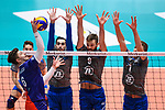13.12.2017, Fraport Arena, Frankfurt<br />Volleyball, DVV-Pokal, Halbfinale, United Volleys RheinMain vs. VfB Friedrichshafen<br /><br />Angriff Robert Adrian Aciobanitei (#6 RheinMain) - Block  / Dreierblock Athanasios Protopsaltis (#7 Friedrichshafen), Philipp Collin (#9 Friedrichshafen), Bartlomiej Boladz (#1 Friedrichshafen)<br /><br />  Foto &copy; nordphoto / Kurth