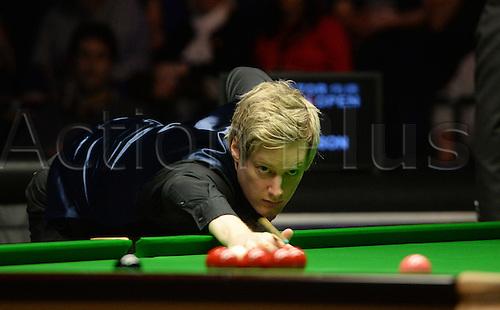 20.02.2016. Cardiff Arena, Cardiff, Wales. Bet Victor Welsh Open Snooker. Mark Allen versus Neil Robertson. Neil Robertson pots the pink.