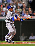 12 September 2008: Kansas City Royals' designated hitter Jose Guillen in action against the Cleveland Indians at Progressive Field in Cleveland, Ohio. The Indians defeated the Royals 12-5 in the first game of their 4-game series...Mandatory Photo Credit: Ed Wolfstein Photo