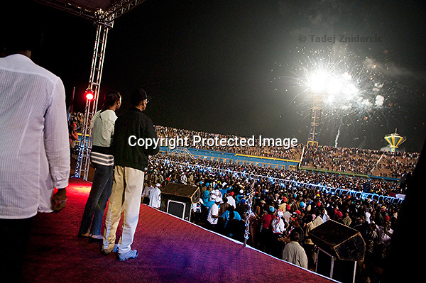 Rwandan president Paul Kagame watches fireworks at the end of the announcment of partial presidential election results at Amahoro stadium, Kigali, Rwanda. President Paul Kagame won 93 percent of the counted votes. August 10 2010