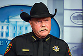 Sheriff Bill E. Waybourn of Tarrant County, Texas, makes remarks as Acting Director, United States Immigration and Customs Enforcement (ICE) Matthew Albence briefs reporters in the Brady Briefing Room of the White House in Washington, DC on Thursday, October 10, 2019.<br /> Credit: Ron Sachs / CNP