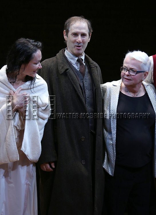 Katrina Lenk, Richard Topal and Paula Vogel during the Broadway Opening Night Performance Curtain Call Bows for  'Indecent' at The Cort Theatre on April 18, 2017 in New York City.