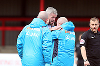 Steve McNulty of Tranmere Rovers is treated by the physio during Dagenham & Redbridge vs Tranmere Rovers, Vanarama National League Football at the Chigwell Construction Stadium on 10th March 2018