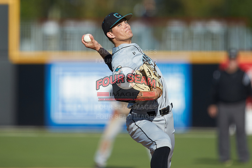 Coastal Carolina Chanticleers relief pitcher Garrett McDaniels (26) in action against the Duke Blue Devils at Segra Stadium on November 2, 2019 in Fayetteville, North Carolina. (Brian Westerholt/Four Seam Images)