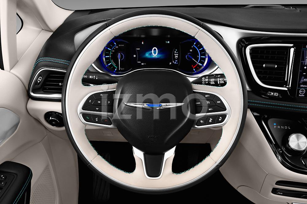 Car pictures of steering wheel view of a 2017 Chrysler Pacific Hybrid Limited 5 Door Mini Van