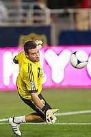 Columbus Crewgoalkeeper Andy Gruenebaum (30) during warmups prior to playing the Philadelphia Union. The Columbus Crew defeated the Philadelphia Union 2-1 during a Major League Soccer (MLS) match at PPL Park in Chester, PA, on August 29, 2012.
