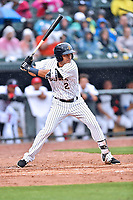Northern Division third baseman Angel Aguilar (2) of the Charleston RiverDogs swings at a pitch during the South Atlantic League All Star Game at Spirit Communications Park on June 20, 2017 in Columbia, South Carolina. The game ended in a tie 3-3 after seven innings. (Tony Farlow/Four Seam Images)