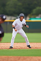 GCL Yankees East designated hitter Raymundo Moreno (13) leads off second base during the first game of a doubleheader against the GCL Yankees West on July 19, 2017 at the Yankees Minor League Complex in Tampa, Florida.  GCL Yankees West defeated the GCL Yankees East 11-2.  (Mike Janes/Four Seam Images)