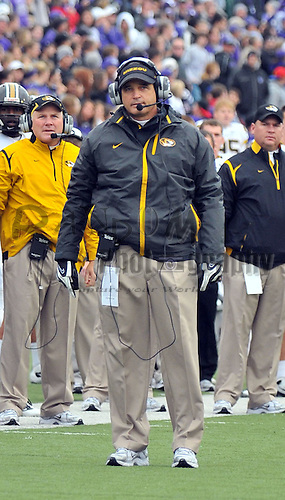 Nov 14, 2009; Manhattan, KS, USA; Missouri Tigers head coach Gary Pinkel watches for the call on a controversial play in the second quarter against the Kansas State Wildcats at Bill Snyder Family Stadium. The Tigers won 38-12. Mandatory Credit: Denny Medley-US PRESSWIRE