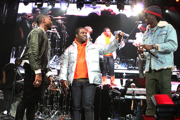 NEWARK, NJ - DECEMBER 3: Usher , Asap Ferg and Young Thug at the 2016 Hot 97 Hot 4 The Holidays Concert at the Prudential Center in Newark, New Jersey on December 3, 2016. Credit: Walik Goshorn/MediaPunch
