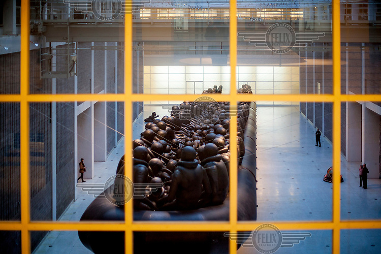 Ai Wei Wei's exhibition 'The Law of the Journey' at Veletrzni Palac, the National Gallery. Ai Wei Wei purposely chose the Czech Republic for his show because of the anti-migrant politics of the country.