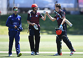 6th December 2017, Eden Park, Auckland, New Zealand; Ford Trophy One Day Cricket, Auckland Aces versus Canterbury Wizards;  Fraser Sheat and Will Williams celebrate at the end of the Canterbury innnings