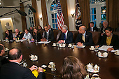 United States President Barack Obama delivers remarks during a cabinet  level meeting on the U.S. Government response to the Ebola epidemic in the Cabinet Room of the White House Washington, D.C., on Wednesday, October 15, 2014. <br /> Credit: Kristoffer Tripplaar  / Pool via CNP