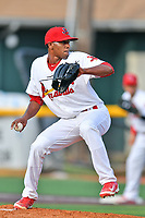 Johnson City starting pitcher Angel Rondon (47) deliver a pitch during a game against the Bristol Pirates at TVA Credit Union Ballpark on June 23, 2017 in Johnson City, Tennessee. The Pirates defeated the Cardinals 4-3. (Tony Farlow/Four Seam Images)
