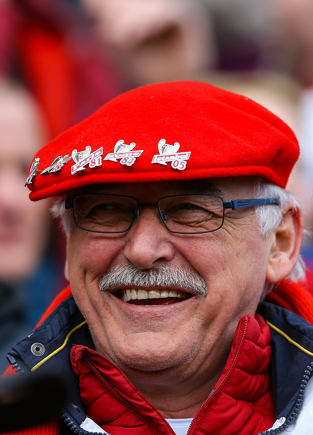 A Liverpool fan enjoys the atmosphere<br /> <br /> Photographer Alex Dodd/CameraSport<br /> <br /> The Premier League - Liverpool v Burnley - Sunday 10th March 2019 - Anfield - Liverpool<br /> <br /> World Copyright © 2019 CameraSport. All rights reserved. 43 Linden Ave. Countesthorpe. Leicester. England. LE8 5PG - Tel: +44 (0) 116 277 4147 - admin@camerasport.com - www.camerasport.com