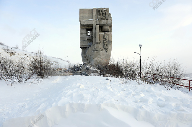 "The monument to those fallen in the gulags of the Kolyma region by Ernst Neisvestny, entitled ""The Mask of Sorrow"", stands about the city of Magadan, Russia, February 5, 2011"