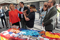 President of Madrid Community, Cristina Cifuentes leaves the Assembly of Madrid to go to the Felipe II to delivers spanish flags and bracelet and talks about yesterday Catalonia secession speech. At Felipe II Square in Madrid on October 11, 2017.