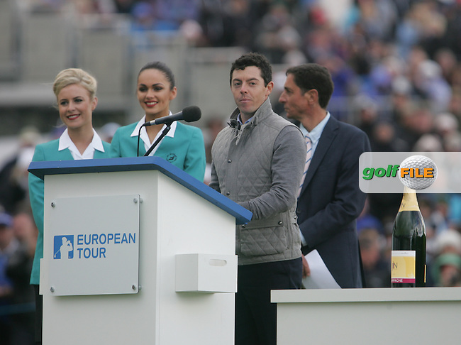 Rory MCILROY (NIR) during the final presentations of the 2015 Dubai Duty Free Irish Open hosted by the Rory Foundation, Royal County Down Golf Club, Newcastle Co Down, Northern Ireland. 31/05/2015<br /> Picture TJ Caffrey, www.golffile.ie