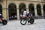Fernando Gaviria (COL) UAE Team Emirates heads out for a practice run before Stage 1 of the 2019 Giro d'Italia, an individual time trial running 8km from Bologna to the Sanctuary of San Luca, Bologna, Italy. 11th May 2019.<br /> Picture: Eoin Clarke | Cyclefile<br /> <br /> All photos usage must carry mandatory copyright credit (© Cyclefile | Eoin Clarke)