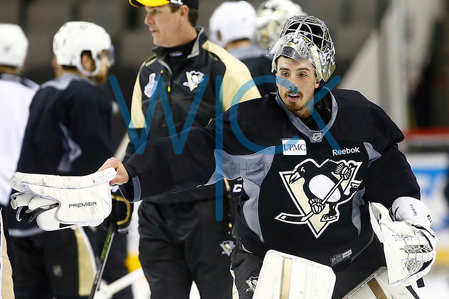 Marc-Andre Fleury #29 of the Pittsburgh Penguins pokes his teammates during practice at the SAP Center in San Jose, California on June 5, 2016. (Photo by Jared Wickerham / DKPS)
