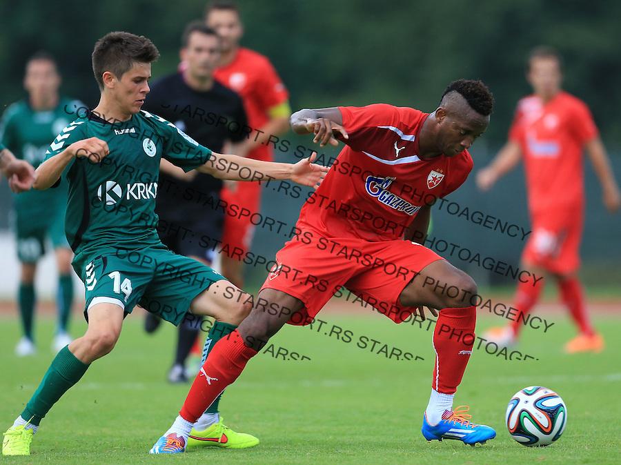 Fudbal season 2013-2014<br /> FK Crvena Zvezda pripreme<br /> Crvena Zvezda v Krka<br /> Ifeanyi Onyilo (R)<br /> Novo Mesto, 07.12.2014.<br /> foto: Srdjan Stevanovic/Starsportphoto &copy;