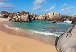 Virgin Gorda, British Virgin Islands in the  Caribbean<br /> Protected pool among the granite boulders on the beach known as The Crawl in Spring Bay National Park