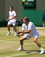 England, London, 28.06.2014. Tennis, Wimbledon, AELTC, Gentlemen's invitational doubles, Paul Haarhuis (NED) and his partner Jacco Eltingh (NED) (L)<br /> Photo: Tennisimages/Henk Koster