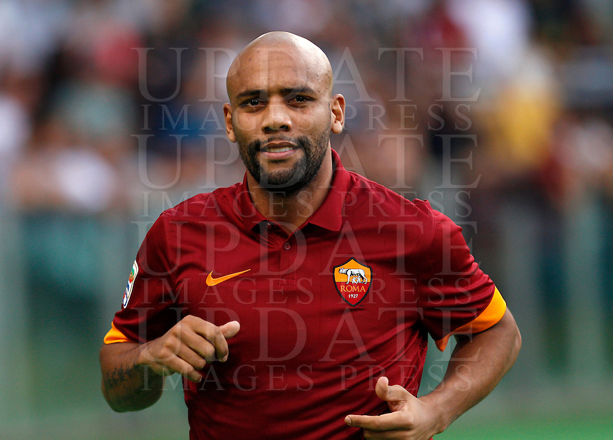 Calcio, amichevole Roma vs Fenerbahce. Roma, stadio Olimpico, 19 agosto 2014.<br /> Roma defender Maicon, of Brazil, arrives for the team's presentation, prior to the friendly match between AS Roma and Fenerbahce at Rome's Olympic stadium, 19 August 2014.<br /> UPDATE IMAGES PRESS/Riccardo De Luca